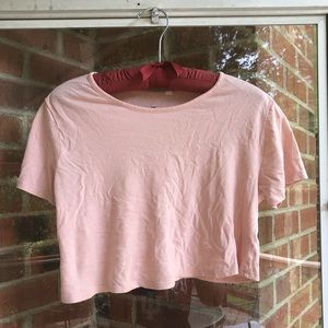 Pacsun Me to We cute light pink crop tee